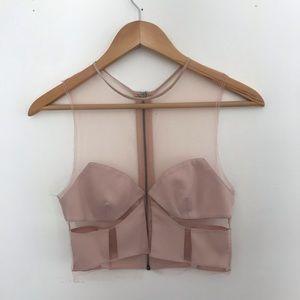 BCBGMaxAzria RUNWAY Sheer Pink Crop Top